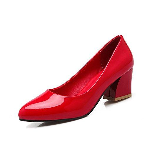 Balamasa Kvinna Grova Klackar Fasta Lack Pumpar-shoes Röda