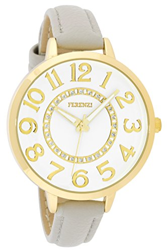(Women's Watches by Ferenzi - Classic Gold-Tone White Sunray Dial with Grey Padded PU Leather Band Watch - Make Every Second Count - FZ17708)