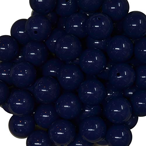 20mm Bulk Package 50 Navy Blue Solid Acrylic Chunky Bubblegum Beads Loose Gumball Beads Lot - Navy Blue Beads