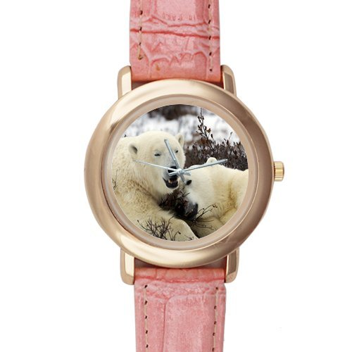 Gifts for Girls/Ladies Polar Bear Lovers Pink Leather Alloy Watch