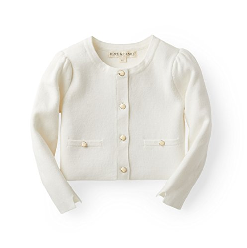 (Hope & Henry Girls' White Milano Stitch Cardigan )