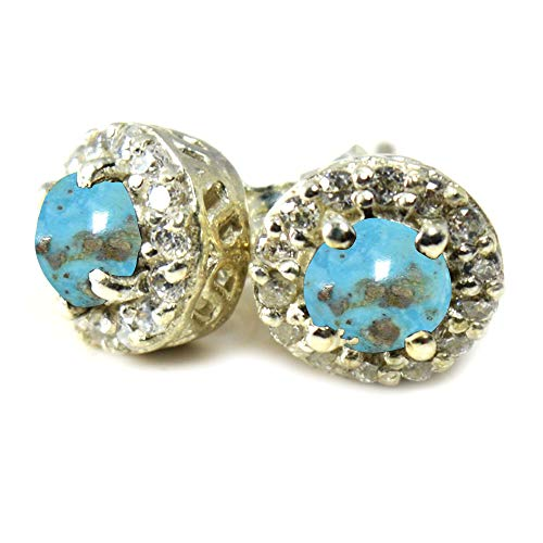 CHOOSE YOUR COLOR Natural Round GEMSTONES Cluster Setting Silver Stud Earrings For Women Wedding ()