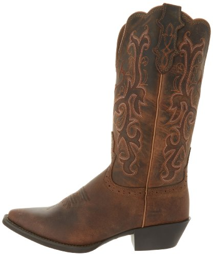 "Justin Boots Women's Stampede Collection 12"" Boot Narrow Rounded Toe Western Rubber Outsole,Tan Puma Cowhide,8 B US"