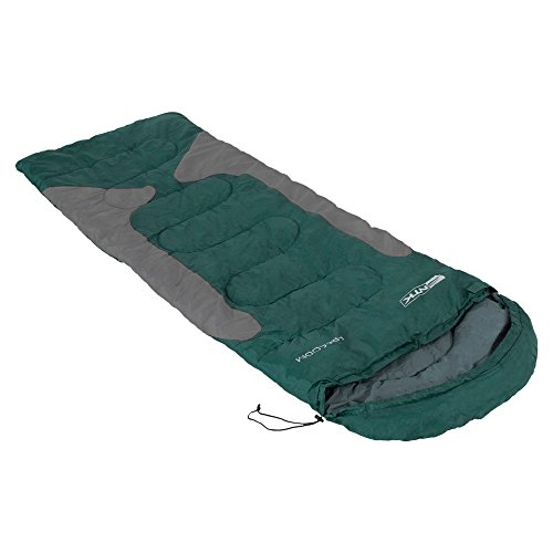 NTK Freedom Synthetic 2 Season Lightweight Sleeping Bag for Adults | Hybrid Shaped Ultralight Camping Sleeping Bags for Hiking and Backpacking | Extra Portable with Stuff Sack - Green/Grey
