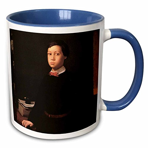 - 3dRose BLN Edgar Degas Fine Art Collection - Portrait of Rene de Gas by Edgar Degas - 15oz Two-Tone Blue Mug (mug_126941_11)
