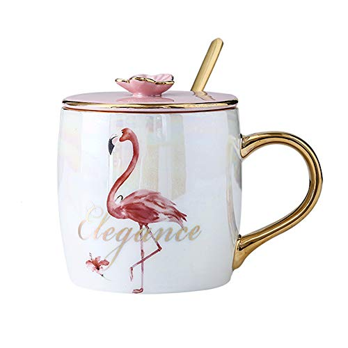 KEYIGOU Flamingo Ceramic Mugs With Lid Gold Spoon Porcelain Coffee Milk Cups Breakfast Drinkware for Women Lovers Friends Gifts