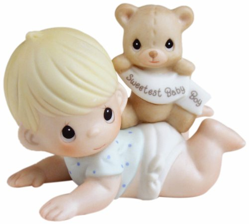 Ceramic Collectible Teddy (Precious Moments,  The Sweetest Baby Boy, Bisque Porcelain Figurine, Boy, 101500)