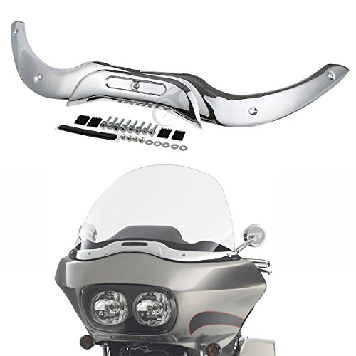 XFMT Windshield Windscreen Trim Set Chrome Compatible with Harley Touring Road Glide 2004-2013 05