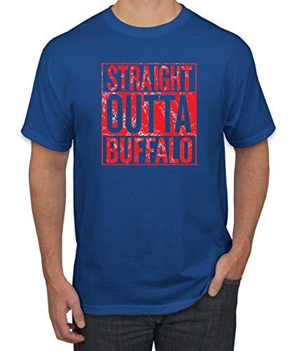Straight Outta Buffalo BUF Fan | Fantasy Football | Mens Sports Graphic T-Shirt, Royal, 2XL