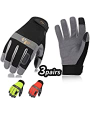 Vgo 3Pairs Synthetic Leather Multi-Functional Work Gloves(Black/Fluorescence Green/Orange,SL7584)