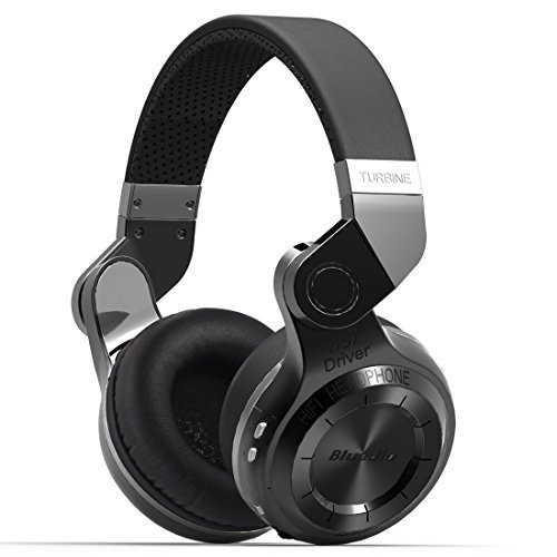 Bluedio T2 Plus Turbine Wireless Bluetooth Headphones with Mic/Micro SD Card Slot/FM Radio (Black) (Memory Headphones Card)