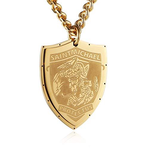(HZMAN Saint Michael Pendant Stainless Steel St. Michael The Archangel Necklace Jewelry (Shield - Gold))