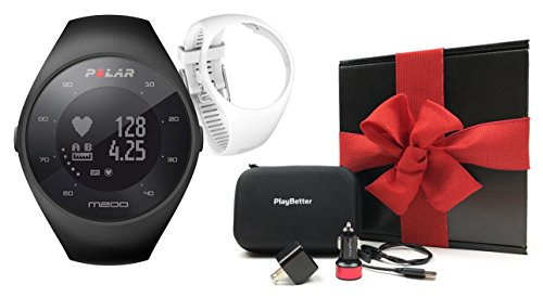 - Polar M200 (Black) Running GPS Watch Gift Box Bundle | Includes Extra Silicone Wrist Band, PlayBetter USB Car/Wall Charging Adapters, Protective Hard Carrying Case | Wrist HR | Gift Box, Red Bow