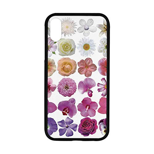 Floral Rubber Phone Case,Pattern of Vase Flowers Petunia Botanic Wild Orchid Floral Nature Art Decor Compatible with iPhone XR