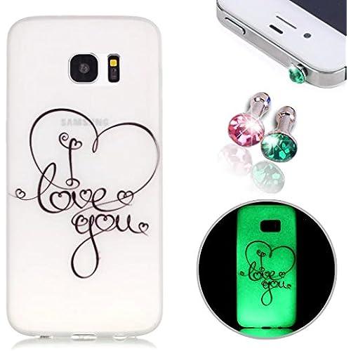 Pesrhoo, Samsung Galaxy S7 Case, Soft TPU Scrub Luminous Protective Cover, Simple Design Heart Pattern Printing Sales