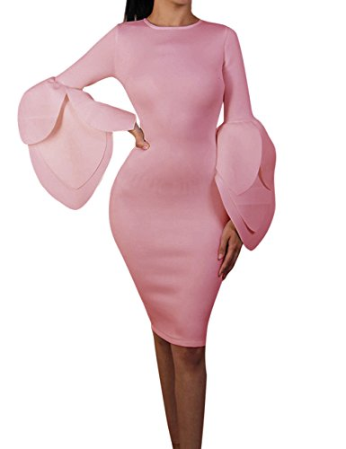 Petal Sleeve Dress (Maketina Women Petal Sleeve Bodycon Dress Knee Length Celebrity Party Dresses Clubwear Exaggerated Pink S)