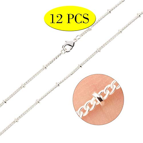 Wholesale 12PCS Silver Plated Solid Brass Beaded Ball Satellite Chains Necklace Bulk Fine Chain for Jewelry Making 16-30 Inches (18 Inch(1.5MM))