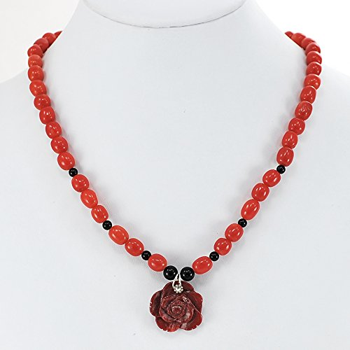 Red Coral & Carved Rose Pendant Necklace with Silver Tone Clasp 17.5