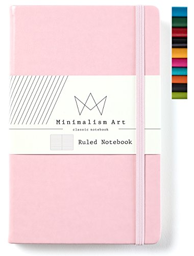 Minimalism Art | Classic Notebook Journal, Size: 5 X 8.3, A5, Pink, Ruled/Lined Page, 192 Pages, Hard Cover/Fine PU Leather, Inner Pocket, Quality Paper - 100gsm | Designed in San Francisco