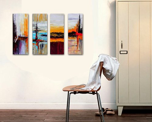 Cherish Art Hand Painted Oil Painting Gift Landscapes Abstract 4 Panels Wood Inside Framed Hanging Wall Decoration