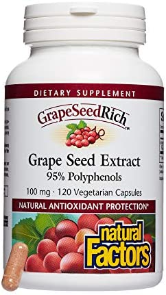 GrapeSeedRich by Natural Factors, Grape Seed Extract, Antioxidant Support for Healthy Inflammatory Response, 120 capsules 120 servings