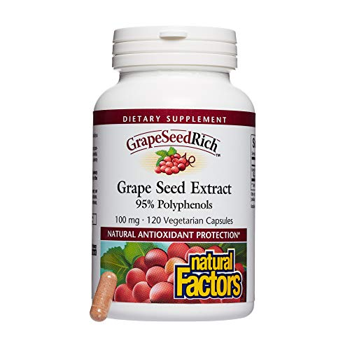 Natural Factors – GrapeSeedRich Grape Seed Extract, Antioxidant Support for Healthy Circulation and Eye Health, 120 Vegetarian Capsules
