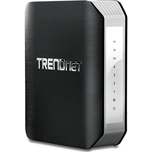 TRENDnet AC1900 Dual Band Wireless AC Gigabit Router, 2.4GHz 600Mbps+5Ghz 1300Mbps, One-Touch Network connection, 1 USB 2.0 Port, 1 USB 3.0 Port, DD-WRT Compatible, IPv6, Guest Network, Parental controls, TEW-818DRU