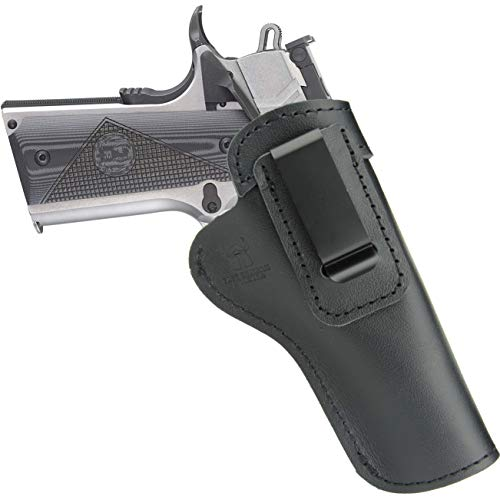 Leather IWB Holster for 1911 Pistols-Concealed Carry-Inside The Waist Band Fits:Government Length (5 in)-Commander Length (4.25 in)-Sig p210-Colt-Kimber-Ruger-Browning-Taurus-Remmington (Right)