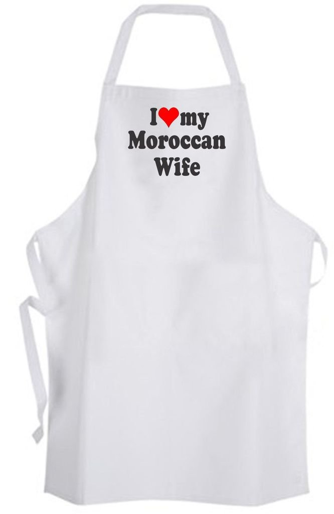 I Love my Moroccan Wife – Adult Size Apron – Wedding Marriage Husband
