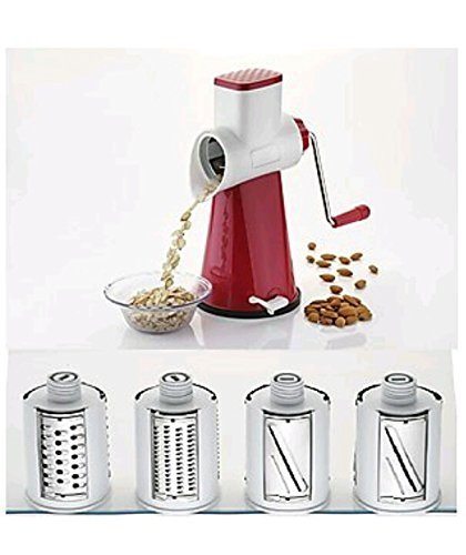 TrackIndia™ Multi-Functional 4 in 1 ROTARY DRUM Vegetable Fruit Cutter Slicer Cheese Shredder, Speedy Rotary 1 Drum Grater Slicer with 4 Stainless Steel Blade(MAROON) Graters & Slicers at amazon