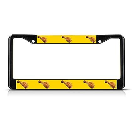 Amazon Chicken Leg Food Metal Black License Plate Frame Tag