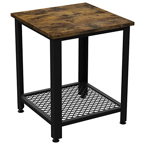 IRONCK End Tables Living Room, Side Table with Storage Shelf, Wood Look Accent Furniture with Metal Frame, Rustic Home Decor, Vintage Brown