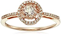 10k Rose Gold Morganite Center and Diamond Halo Ring, (1/10 cttw, I-J Color, I2-I3 Clarity)