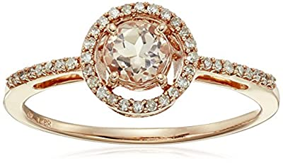 10K Rose Gold Morganite Round with Diamond Halo Ring, Size 6