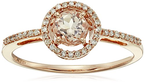 - 10K Rose Gold Morganite Round with Diamond Halo Ring (1/10 cttw), Size 8