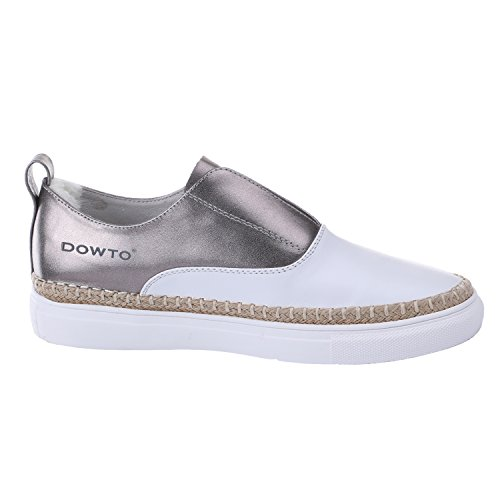 Shoes for Sneakers Loafers Flat Fashion silver Slip DOWTO On Casual Women 5qXR0I85wn