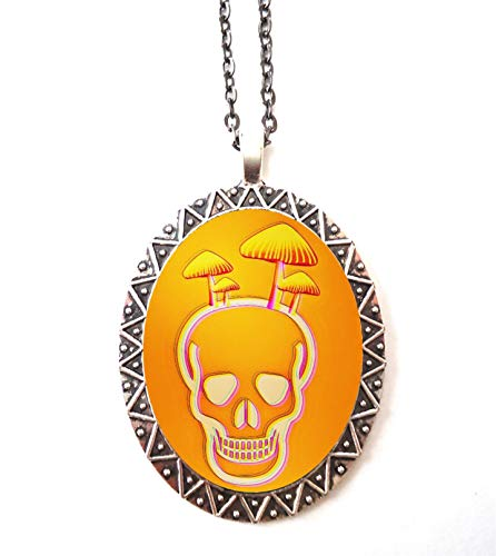 Mushroom Skull Necklace Pendant Silver Tone Trippy Psychedelic Festival Accessory Mod 60's 70's Inspired