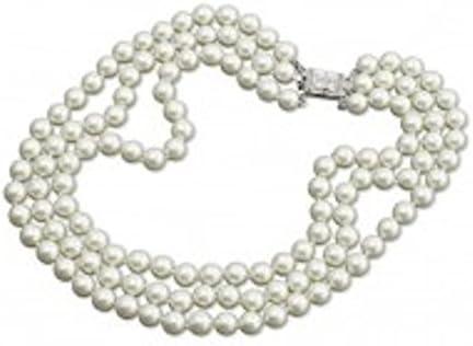 Vintage Silver Tone Multi Strand Faux Pearl Necklace with Deco Rhinestone Clasp