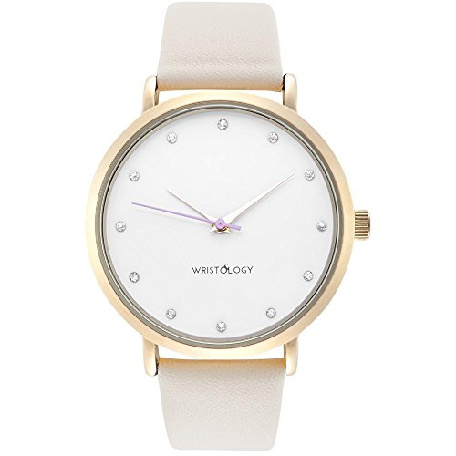 WRISTOLOGY Olivia Womens Gold Crystal Wrist Watch Beige Off White Leather Band (Crystal Heart Watch Leather Band)