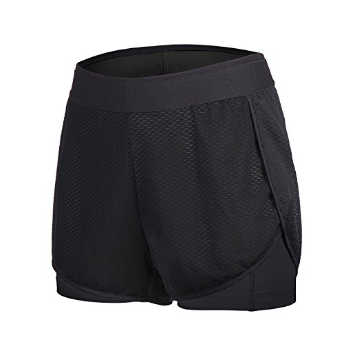 beroy Running Shorts for Women Active Compression 2 in 1 Training Workout Shorts(S,Black ()