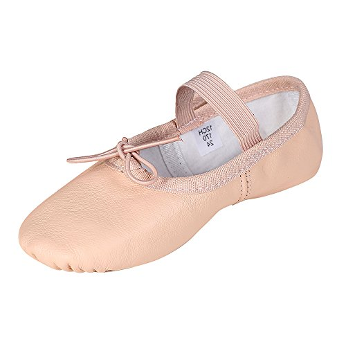 STELLE Premium Leather Ballet Slipper/Ballet Shoes(Toddler/Little Kid/Big Kid) (10MT, Ballet Pink)]()