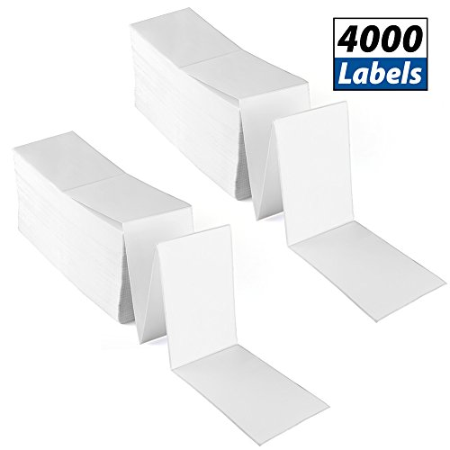4 x 6 Fanfold Direct Thermal Labels by LotFancy - White Shipping Mailing Postage Labels, Perforated, Permanent Adhesive, 2 Stack, 4000 Labels