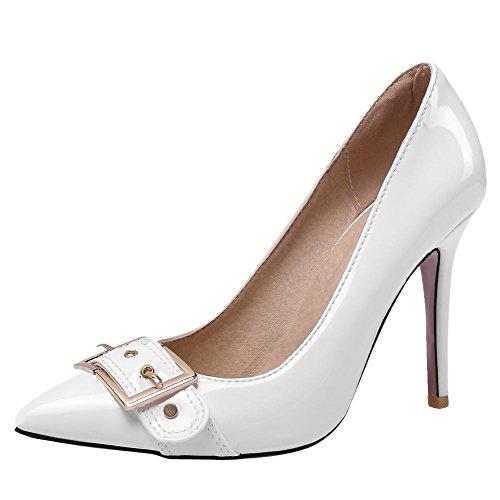 Carolbar Mujeres Pointed Toe Tacones Altos Stilettos Vestido Bombas Zapatos Blanco