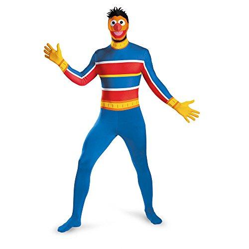 Disguise Men's Sesame Street Ernie Bodysuit Costume, Blue/Red/Yellow, XX-Large/50-52 -