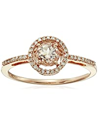 10k Rose Gold Morganite Center Ring with Diamond Halo (1/10 cttw, I-J Color, I2-I3 Clarity)