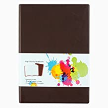 LABON'S Journal Notebook A4/A5/A6/ Ruled Diary Colored Edges PU Leather Softcover Pocket Notebook (A6,Brown)