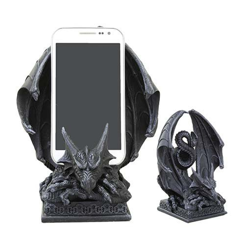 Ebros Ancient Crouching Dragon Cell Phone Holder Statue Mythical Fantasy Dragon Figurine In Faux Stone Resin Desktop - Desk Figurine