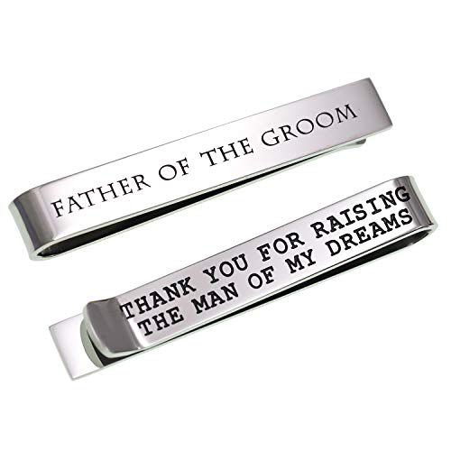 LParkin Father of The Groom Gifts Wedding Tie Clips Gifts for Groomsmen from The Bride Stainless Steel Tie Bars Polished Finish 3/8 Inch Wide 2 Inches Long