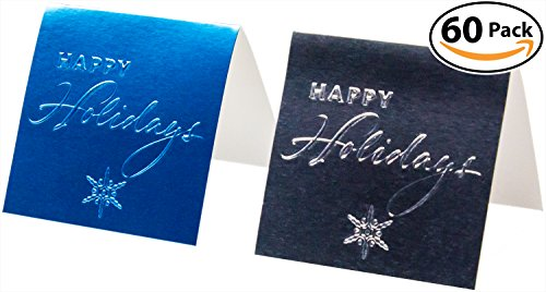 """Self Stick Christmas Gift Tags - Hallmark Blank Self-Stick Gift Tag 60 Pack: Happy Holidays. 40 Silver & 20 Blue Tags. Stylish, Reflective Foil Design. Great for Christmas & Hanukkah Presents. Easily Folds in Half: 2.25"""" Per Side."""