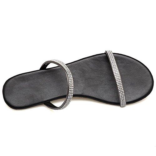Color Sandals Women Mules Slide Flats Gun TAOFFEN Yzxqpx